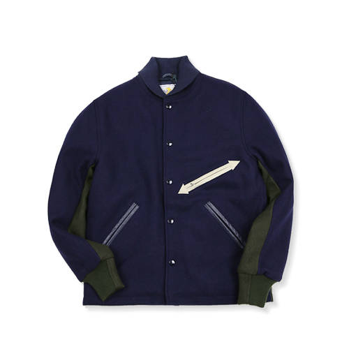 GARBSTORE x GOLDEN BEAR Bear Stadium Jacket, Navy/Green