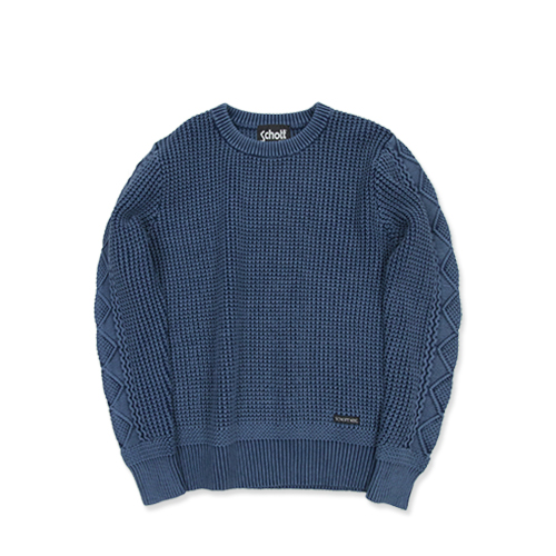 SCHOTT3164006 Dull Color Crew Neck Sweater, Navy
